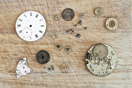 Detail of clock parts for restoration photo