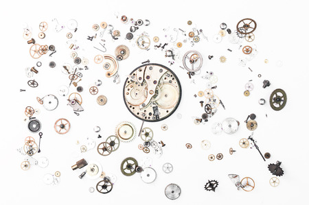 watchmaker: clock parts Stock Photo