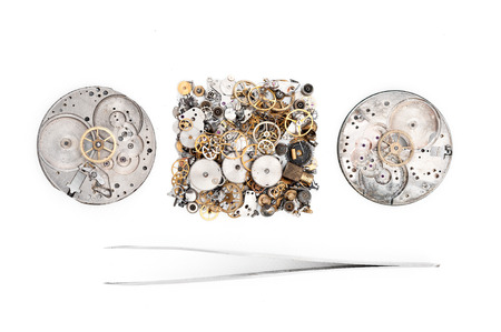 watchmaker: Special tools for repair of clocks  Stock Photo