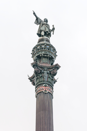 Detail of the monument of Christopher Columbus in Barcelona photo