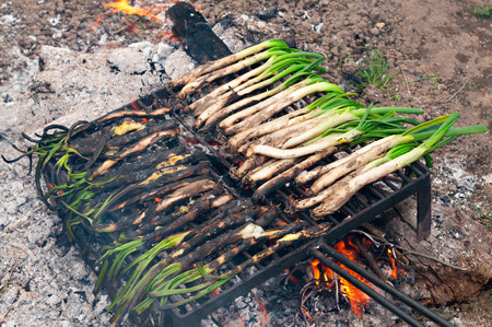 calsots: typical catalan sweet onions on the barbecue