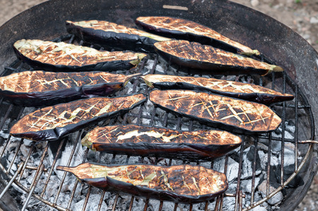 Eggplant cooked on the barbecue photo