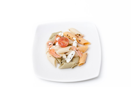Macaroni salad with cheese and salmon photo
