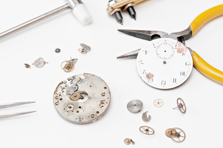 watchmaker: Detail of clock parts for restoration Stock Photo