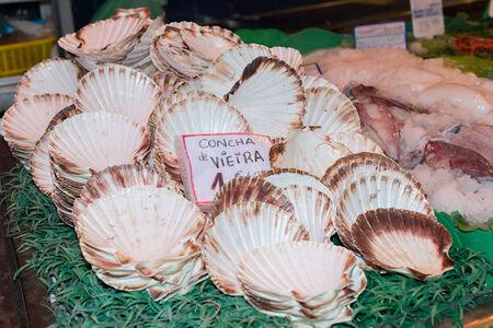 Different shops Boqueria market in Barcelona Spain photo