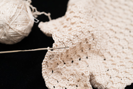 needle lace: Detail of a piece of crochet
