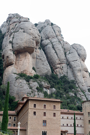 Different details Abbey of Santa Maria de Montserrat and mountain Stock Photo