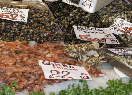 Detail Fish and seafood prepared for sale photo