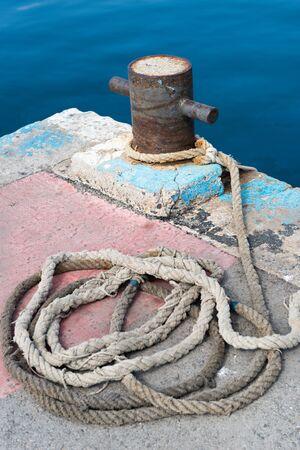 bollard: Details of a fishing boat bollard Stock Photo