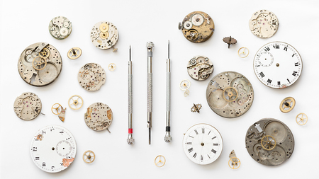 Detail of clock parts for restoration Stock Photo