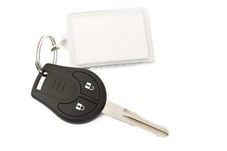 car key with key blank for notes Stock Photo