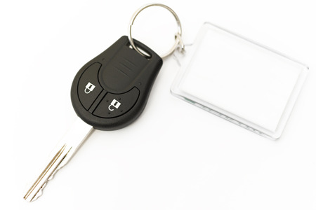 car key with key blank for notes Stockfoto