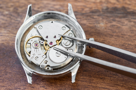 watchmaker: Details of watches and mechanisms for reparation, restoration and maintenance