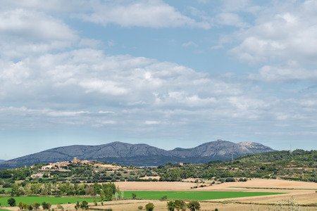 shepherd sheep: Overview Massis del Montgri in Girona (Spain)