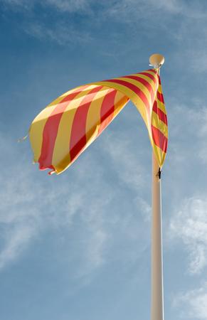 autonomia: Detalle de la bandera de la autonomía de Cataluña en España Foto de archivo