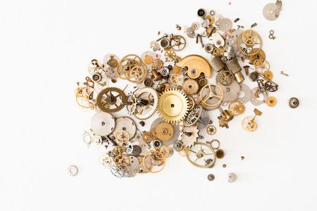 watch: Detail of several clockworks dismantled
