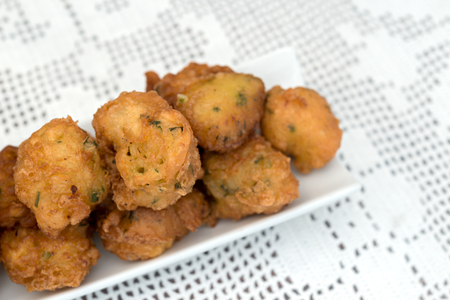 fritters: Detail of a homemade cod fritters Stock Photo