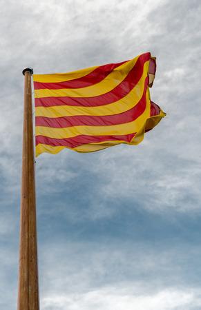 catalunya: Detail of the flag of Catalunya in Spain
