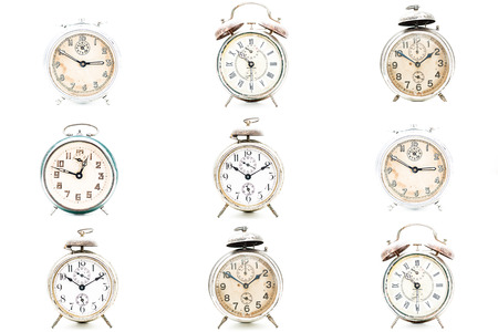 antique background: Several old alarm clocks for collection Stock Photo