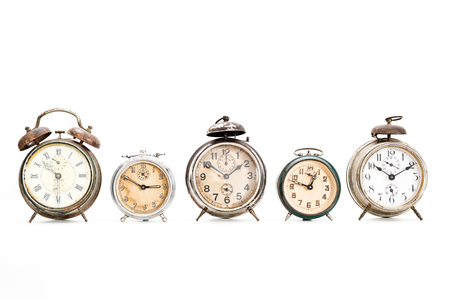Several old alarm clocks for collection Stock Photo