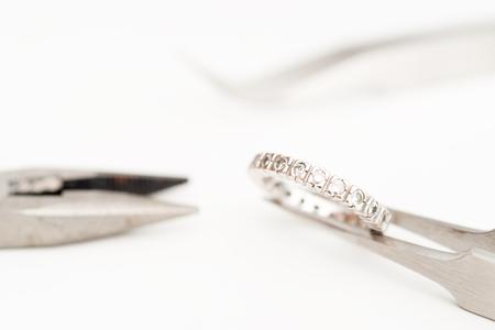 platinum: Details of a platinum and diamond ring Stock Photo
