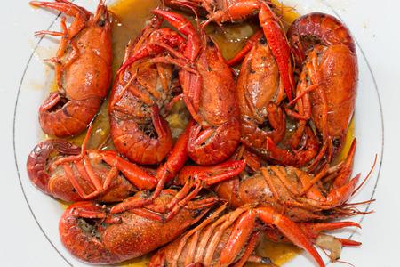 sauvignon blanc: Crayfish recipe with white wine Stock Photo
