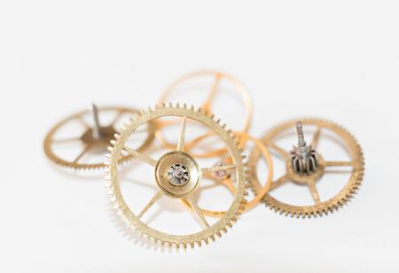 dismantled: Detail of several clockworks dismantled
