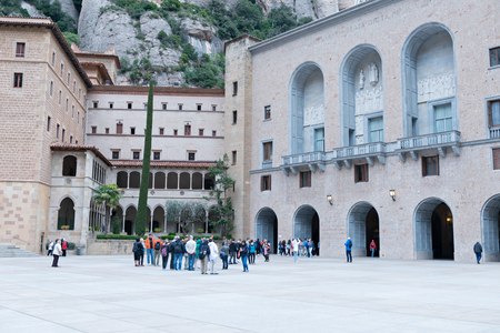 Benedictine monastery of Montserrat (Catalunya-Spain). Belonging to the region of Bages (Barcelona province) at a height of 720 meters above sea level. March 2016 Редакционное