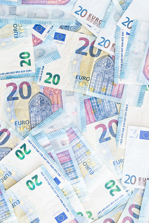 Detail of banknotes of the European Union