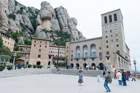 Benedictine monastery of Montserrat (Catalunya-Spain). Belonging to the region of Bages (Barcelona province) at a height of 720 meters above sea level. March 2017 Редакционное