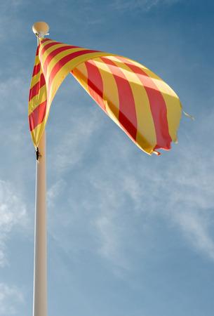 Detail Flag autonomy of Catalonia in Spain
