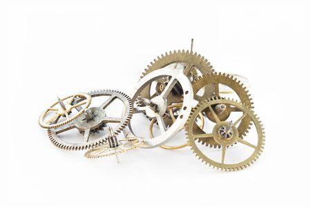 Detail of several clockworks dismantled