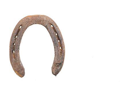 Macro detail of an old horseshoe