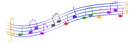 Lot of colorful musical vector notes on staff.