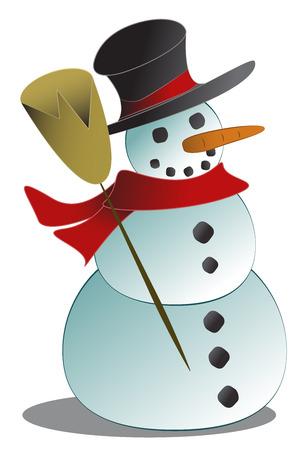 kindly: Kindly smiling snowman with broom.