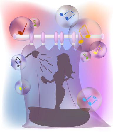 are taking: Young woman taking a shower and singing - musical notes in bubbles.