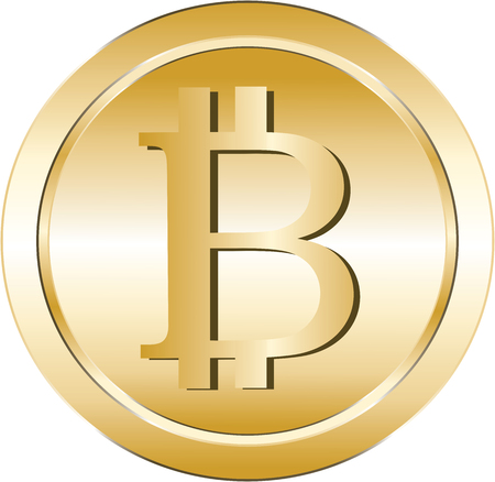 Golden illustration of a bitcoin virtual crypto currency.