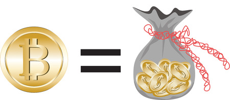 Strong bitcoin currency equals a sack of dollar coins.