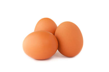 Three eggs isolated on a white background. Stock Photo - 7584132