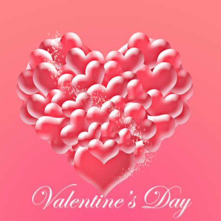 Valentines Day greeting card with the magic heart. photo