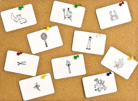 A corkboard interface with pinned items. Stock Photo - 7689148