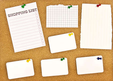 A corkboard interface with pinned items.   Stock Photo - 7689158