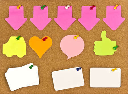A corkboard interface with pinned items. Stock Photo - 7689153