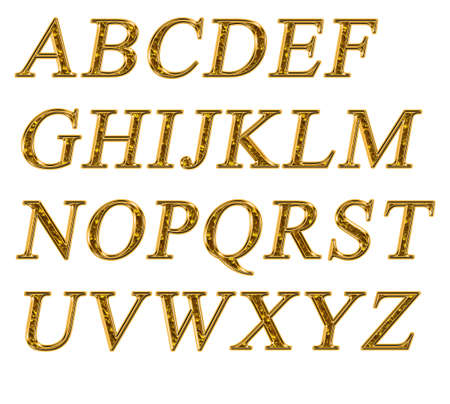Alphabet on a white background with a gold texture Stock Photo - 7689227