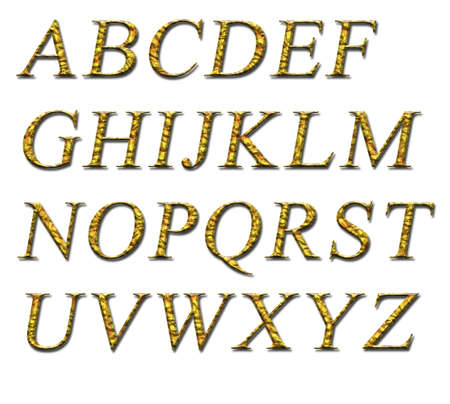 platinum background: Alphabet on a white background with a gold texture