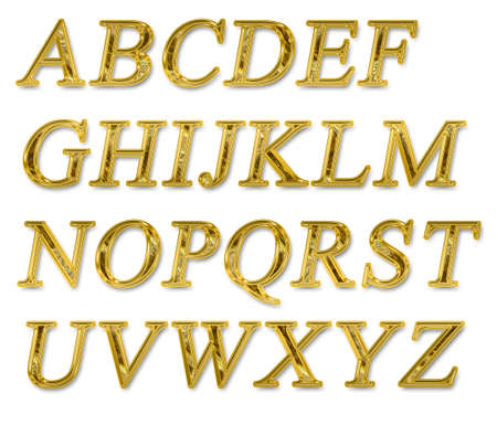 Alphabet on a white background with a gold texture Stock Photo - 7689225