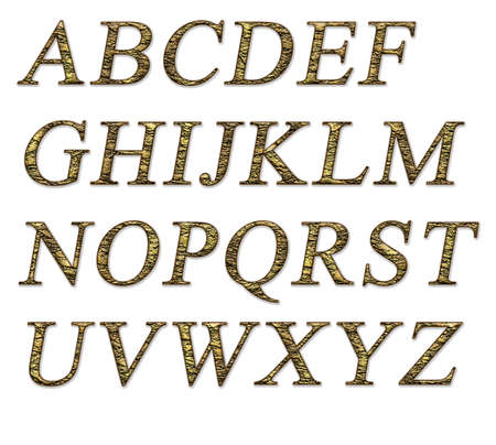 Alphabet on a white background with a gold texture Stock Photo - 7689229