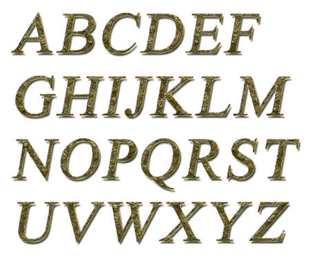 Alphabet on a white background with a gold texture Stock Photo - 7689233