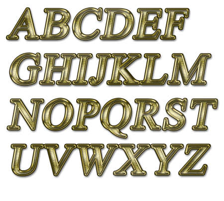 Alphabet on a white background with a gold texture photo