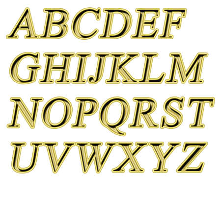 Alphabet on a white background with a gold texture Stock Photo - 7689230